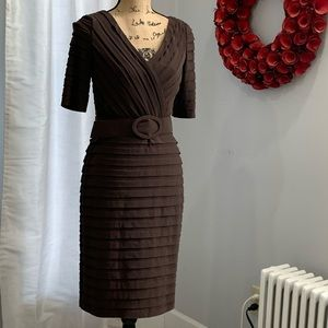 Adrianna Papell brown tiered belted dress size 8